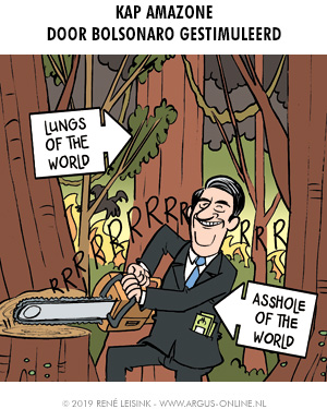 Brazilian Bolsonaro destroys Amazon, cartoon